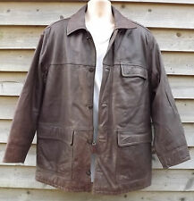 Timberland Weathergear Waxy Brown Leather Field Jacket ~ M - c1998