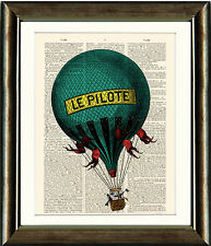 Antique Book page Art Print - Hot Air Balloon 2  Upcycled Dictionary Wall Art