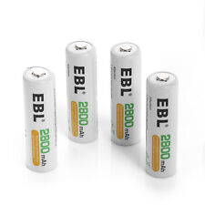 EBL 4 Pack AA 2800mAh Ni-MH 1.2V Rechargeable Batteries Free US Shipping