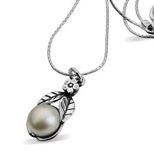 Special SHABLOOL ISRAEL Didae 18'''' Pearl 925 Sterling Silver Flower Necklace