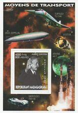 Albert Einstein espacio viaje Zeppelin Mercedes transporte estampillada sin montar o nunca montada SELLO Sheetlet