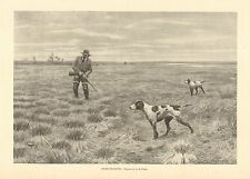 A.B. Frost, Snipe Shooting, Hunting Dogs, Pointers, Vintage 1898 Antique Print