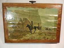 VINTAGE ANTIQUE WOOD ART DECO WALL HANGING WILD WEST COWBOY PICTURE PLAQUES