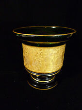 VINTAGE MOSER KARLSBAD GREEN GLASS VASE WITH GILT CAMEO FRIEZE - CIRCA 1930