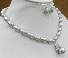 Teardrop Silver Akoya Cultured Shell Pearl Necklace Earring & 14mm Pendant AAAA
