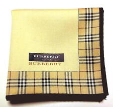 BURBERRY handkerchief scarf Pocket square Beige Check Cotton Auth New