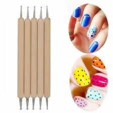 5X 2-Way Wooden Nail Art Dotting Pen Marbleizing Manicure Tools Set Accessories