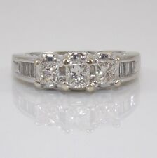 14K White Gold 0.75 Natural Diamond Wedding Engagement Ring Sz 5.5 ZD