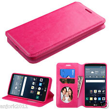 for LG G STYLO LS770 Vista 2 H740 FLIP POUCH FOLIO CASE W/STAND COVER HOT PINK