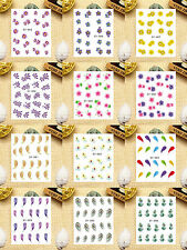 12 Sheets Nail Art Water Transfer Decal Sticker Feather Pattern SY85-96
