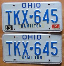 Ohio 1985 HAMILTON COUNTY License Plate PAIR - HIGH QUALITY # TKX-645