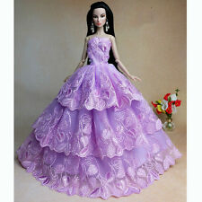 Purple Handmade Fashion Wedding Gown Dresses Outfit Party For Barbie Doll Xmas
