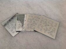 4 GLASS GLITTER SILVER SPARKLE MIRROR BUTTERFLY COASTERS CHRISTMAS DINING TABLE