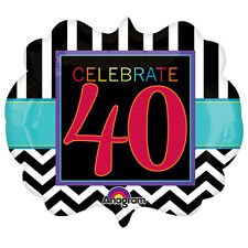 LARGE CELEBRATE 40 FOIL BALLOON BIRTHDAY PARTY DECORATION CHEVRON 40TH FORTY