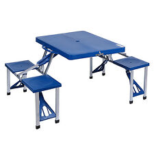 Portable Picnic Table Folding Camping Outdoor Garden Yard Suitcase 4 Seats Blue
