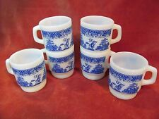 SET OF 6 ANCHOR HOCKING FIRE-KING BLUE WILLOW STACKING MUGS CUPS