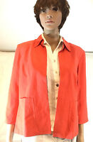 Peach Jacket Silk Linen Coldwater Creek Lined Collar Open Front 6-8 S