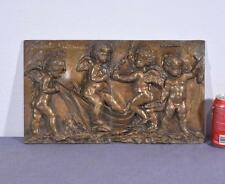 "*18"" Antique Bronze Sculpture/Plaque/Wall Hanging of Four Cherubs with a Boat"