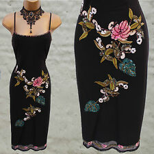Karen Millen Vintage Black Mesh Floral Embroidered Beaded Cocktail Dress 12 UK