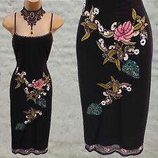 Karen Millen Vintage Black Mesh Floral Embroidered Beaded Cocktail Dress 12 UK