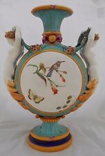 Wedgwood Majolica Vase British Pottery Mermaid Handles Painted Birds Height 31cm