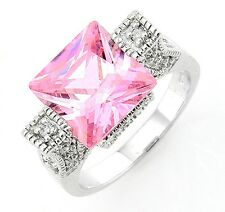 Sterling Silver Ring with Cube Pink CZ Size 8