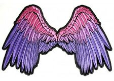 "(L07) Large PINK & PURPLE ANGEL WINGS 11"" x 7"" sew / iron on back patch (3010)"