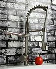 Pull out nickel brushed spray swivel mixer tap faucet 4 kitchen basin sink rtr65