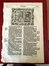 1st print 1568 Bishop's bible leaf  1st Kings (1st Samuel) 19:9-24 & 20:1 - 22