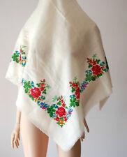 "vintage Russian FOLK floral print wool scarf 38"""