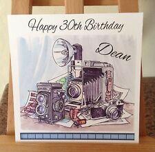 Handmade Personalised Vintage Camera / Photography / Birthday / Fathers Day Card