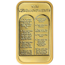 Ten Commandments silver one troy ounce bar gold plated