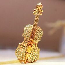 Free Shipping Womens 9K Rose Gold Filled AAA CZ Violin Brooch Gift E-K125-a