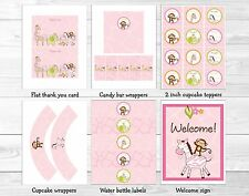 Pink Safari Girl Jungle Animal Printable Baby Shower Party Package