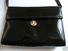 Wonderful BLACK Patent Leather 'PARIS POURCHET' Clutch Or Shoulder BAG ~ PERFECT