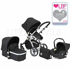 AWARD WINNING BLACK CARRERA SPORT 3-in-1 Baby Travel System/Pushchair/Pram