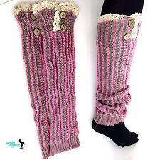 Women Girl Crochet Knitted Lace Trim Boot Cuffs Toppers Leg Warmers Winter Socks