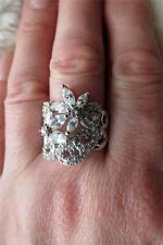 925 Silver Diamonique Dazzling Cubic Zirconia Scrolling Flowers Ring Sz R & 1/2