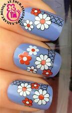 NAIL ART WRAP WATER TRANSFERS/STICKERS DECALS WHITE & RED DAISIES/DAISY #206