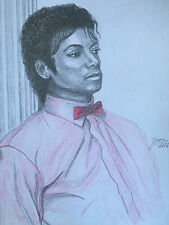 Michael Jackson drawing painting Thriller RARE 1982 Billie Jean scene