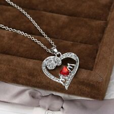 Letter Mom Red Crystal Flower Heart Silver V.G Pendant Necklace