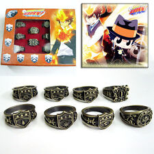 Anime Hitman Reborn Vongola Vintage Metal Finger Ring Cosplay Jewelry 8pcs/set