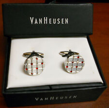 NEW VAN HEUSEN SILVER AND RED RHINESTONES ROUND CUFF LINKS