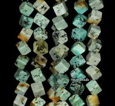"""9MM AFRICAN TURQUOISE GEMSTONE DIAGONAL-DRILL SQUARE CUBE 9MM LOOSE BEADS 7.5"""""""