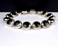 TAXCO jewelry Sterling Silver 950 Onyx Round Bubble Panel Station Link Bracelet