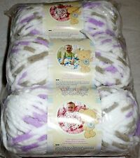 Bernat Baby Blanket Yarn Lot of 3 - LITTLE LILAC DOVE (Grey, Purple & White)