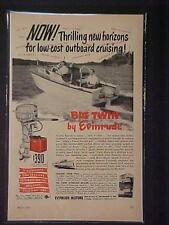 OLD~EVINRUDE FISHING BOAT OUTBOARD MOTOR ART PRINT AD~RARE ORIGINAL ANTIQUE 1951