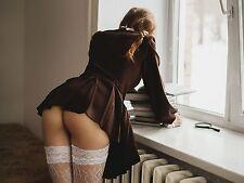 PHOTO 6x8 Woman Amazing schoolgirl stockings