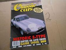 Zeitschrift Classic Cars RR 2 jaguar E-Type Auto union D-typ Reliant Scimitar