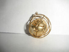 14K GOLD 3D VINTAGE MOVEABLE SPINNING GLOBE EARTH WORLD PENDANT CHARM HEAVY 10.2
